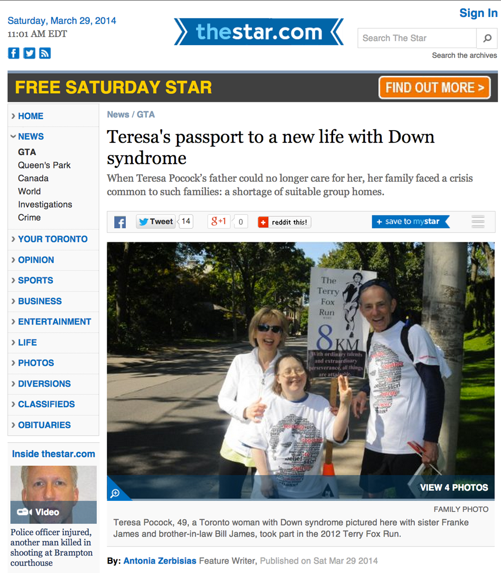 Toronto Star: Teresa's passport to a new life with Down syndrome
