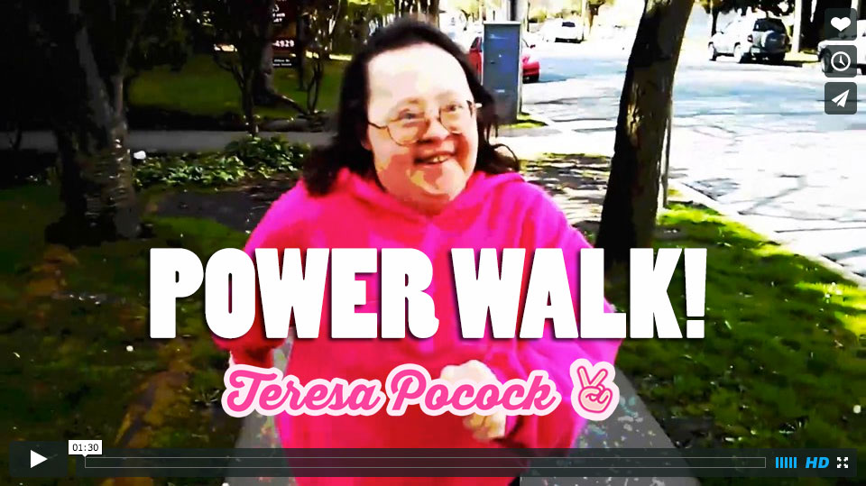 Teresa is power-walking to protect Human Rights for all people with disabilities!